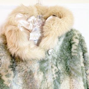 NWOT Nuage Faux Snow Leopard Green Fur Coat Sz Med